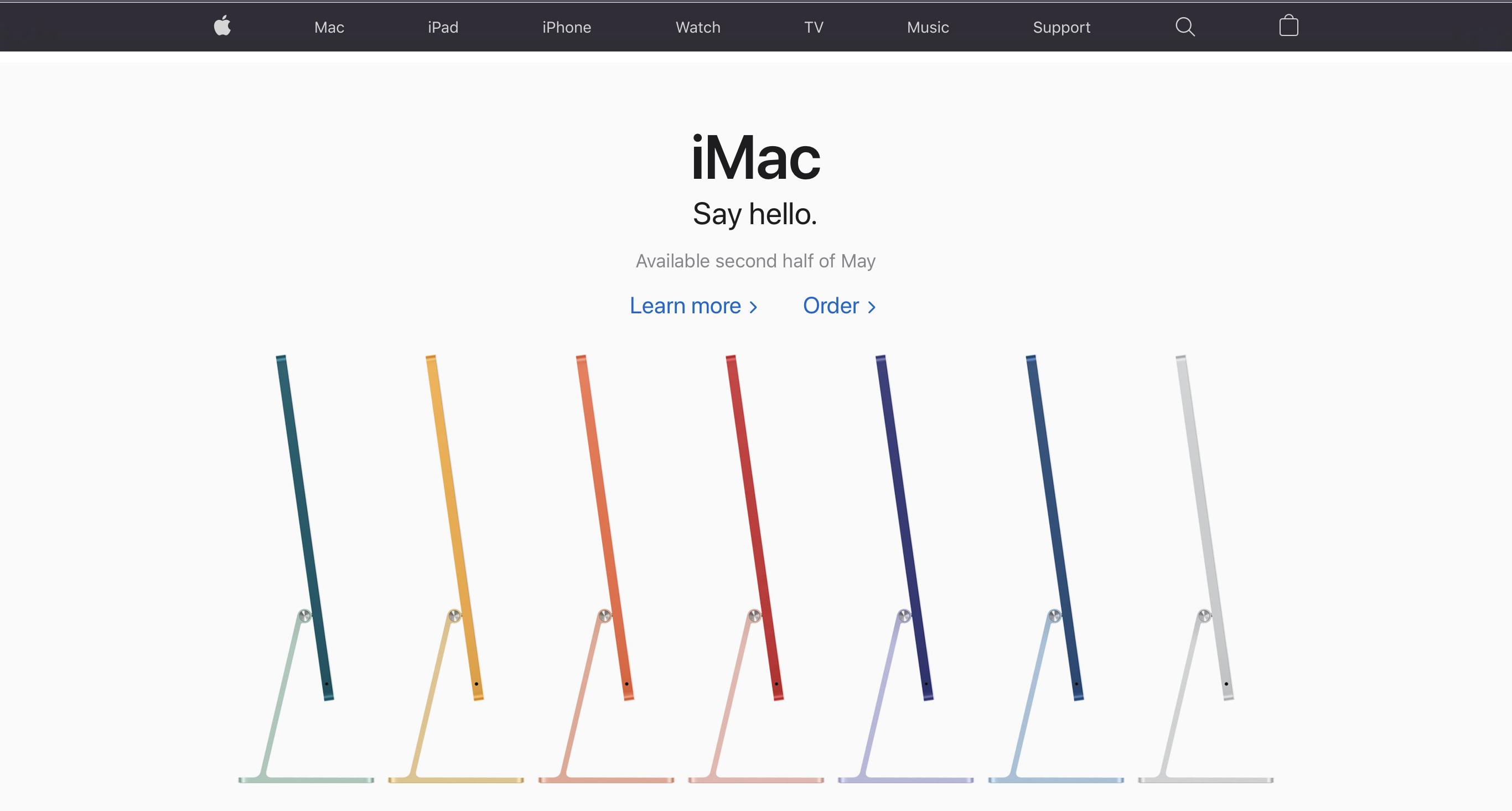 Apple Homepage iMac Hero