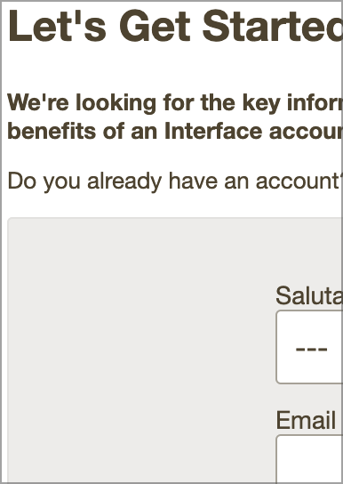 Interface Sign Up