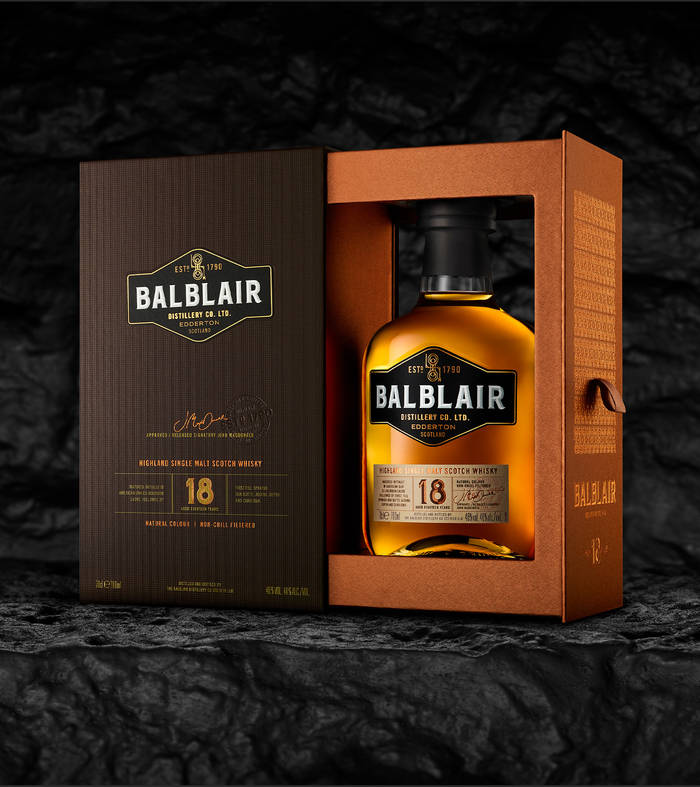 Balblair 18 year old bottle and box