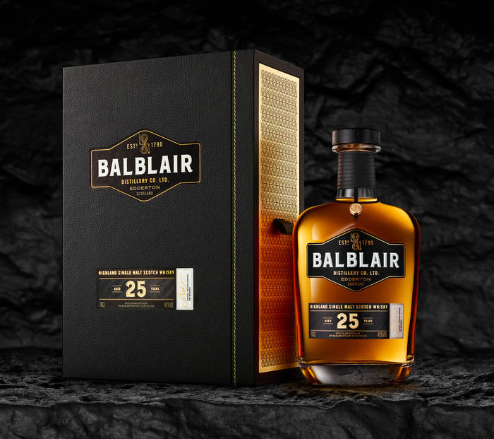 Balblair 25 year old bottle and box